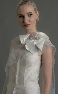 Delphine €3950 lace wrap €550 Crystal bow€550