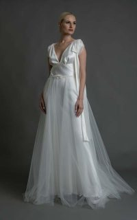 Grace €2450 tulle skirt €550 Lace shrug €250 long silk bow